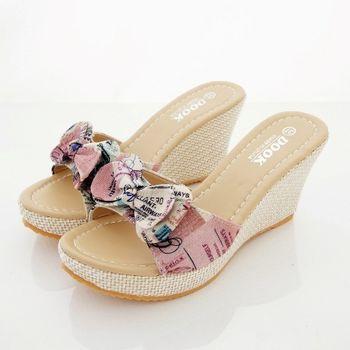 《DOOK》復古信紙布紋蝴蝶結造型楔型厚底拖鞋/涼鞋-粉色