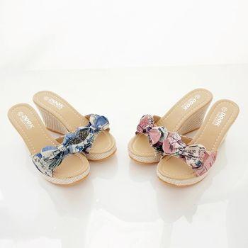 《DOOK》復古信紙布紋蝴蝶結造型楔型厚底拖鞋/涼鞋-2色