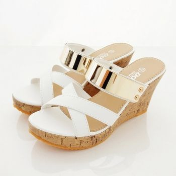 《DOOK》韓系金屬前交叉楔型厚底拖鞋/涼鞋-白色