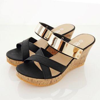《DOOK》韓系金屬前交叉楔型厚底拖鞋/涼鞋-黑色