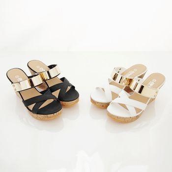 《DOOK》韓系金屬前交叉楔型厚底拖鞋/涼鞋-2色
