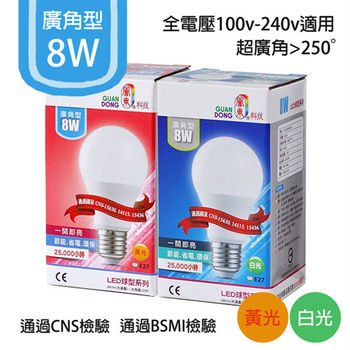 【莫菲思】關東-LED8W廣角球型燈泡(兩色)