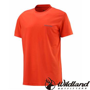 【荒野wildland】男疏水纖維圓領排汗衣 亮橘色 (W1626-76)