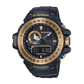 CASIO G-SHOCK 高規格太陽能電波空軍時尚腕錶-黑金/ GWN-1000GB-1A