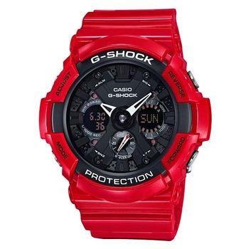 CASIO G-SHOCK 強悍金屬粗曠時尚潮流腕錶-紅/52.5mm/GA-201RD-4A