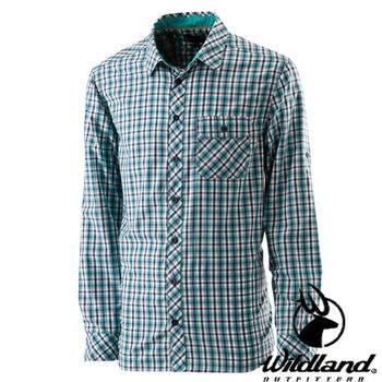 【荒野wildland】男彈性格子布長袖襯衫 藍綠色 (0A21208-47)