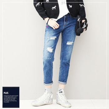 【SCL南加州丹寧時尚】深藍中腰破洞個性修腿錐形九分牛仔褲 (M-5L)