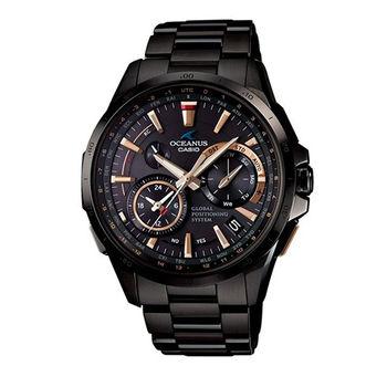 CASIO OCEANUSGPS GPS混合搭載世界六局電波接收黑金男用腕錶-OCW-G1000B-1A2