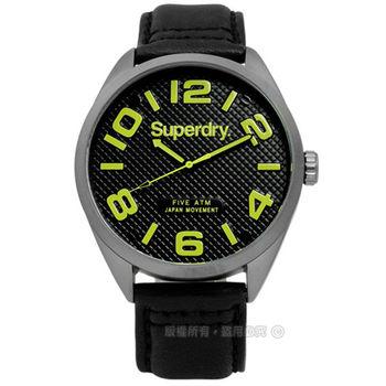 Superdry 極度乾燥 / SYG192BYA / 時尚紳士菱格大時標真皮手錶 黑x灰框 45mm