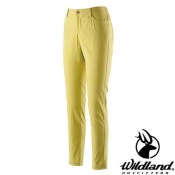 【荒野wildland】女彈性合身抗UV貼腿褲 芥末黃 (0A21337-40)
