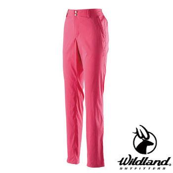 【荒野wildland】女彈性抗UV直筒長褲 嫣紅色 (0A21339-17)