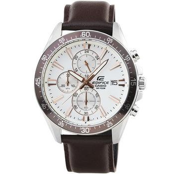 CASIO 卡西歐EDIFICE大錶徑三眼計時皮帶錶-白 / EFR-546L-7A