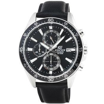 CASIO 卡西歐EDIFICE大錶徑三眼計時皮帶錶-黑 / EFR-546L-1A