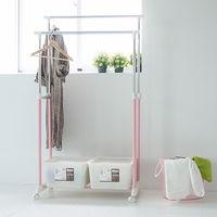~舒適屋~粉嫩色系雙桿衣架附塑膠衣架收納盒x2 ^#40 3色 ^#41