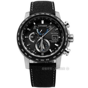CITIZEN 星辰表 / AT9071-07E / 時尚商務男士電波光動能真皮手錶 黑色 43mm