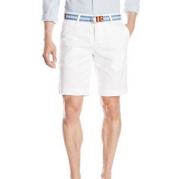 【US Polo】2016男時尚馬球腰帶款白色簡緻短褲(預購)