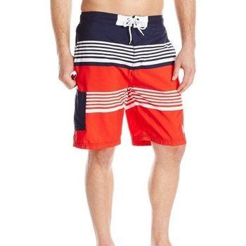 【US Polo】2016男時尚美洲條紋短板白紅色短褲(預購)