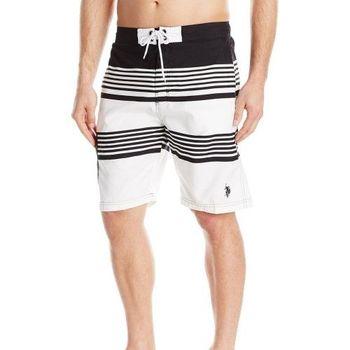 【US Polo】2016男時尚美洲條紋短板白黑色短褲(預購)