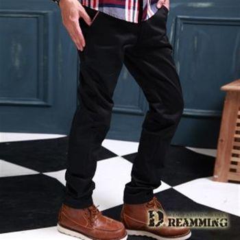 【Dreamming】雅痞風剪接格紋可反摺斜紋休閒長褲(共二色)
