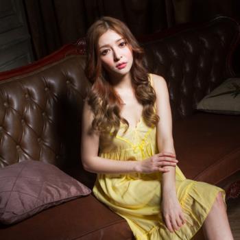 Wonderland SK1561浪漫純真嫘縈居家洋裝(黃)