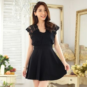 【KVOLL中大尺碼】黑色蕾絲V領修身洋裝