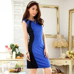 KOVLL中大尺碼藍色無袖撞色拼接修身洋裝