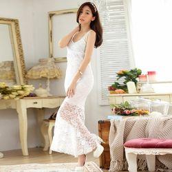 KOVLL中大尺碼白色蕾絲鑲鑽修身長禮服