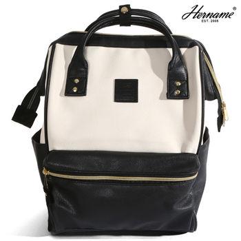 【Hername】 日本樂天大開口皮革雙色後背包(白色+黑色)