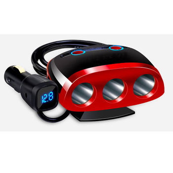 180W點煙擴充器 藍光LED電壓顯示+低電壓警報功能+獨立電源開關+雙USB 3.4A