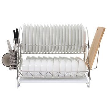 【達人收納】304不鏽鋼超大容量免組裝雙層站立式碗盤瀝水架