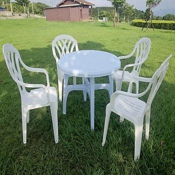 BROTHER 兄弟牌92cm塑膠圓桌+塑膠格網高背椅一桌四椅組
