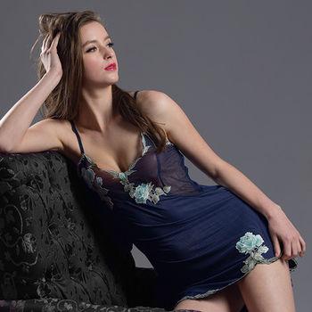 【皮爾卡登】挑逗玫瑰刺繡性感睡衣