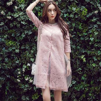 【Fabulous!!】韓版質感氣質蕾絲歐根紗長版罩衫外套(灰 粉 可選)