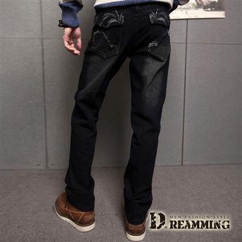 【Dreamming】電繡圖騰刷紋伸縮中直筒牛仔褲