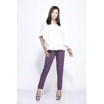 蘭陵涼爽東方蠶絲加大顯瘦輕鬆褲(4入)