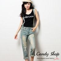 Candy 小舖 丹寧刷色復古風 刷破牛仔吊帶褲 ^#40 可拆式 ^#41