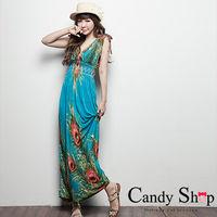 CANDY小舖 波希米亞 交叉領綁帶 顯瘦收腰 孔雀羽毛長洋裝  ^#45 海洋藍