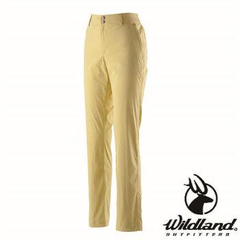 【荒野wildland】女彈性抗UV直筒長褲 芥末黃 (0A21339-40)