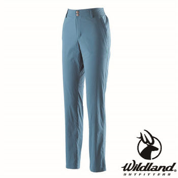 【荒野wildland】女彈性抗UV直筒長褲 土耳其藍 (0A21339-46)