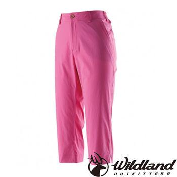 【荒野wildland】女彈性抗UV合身七分褲 桃紅色 (0A21371-09)