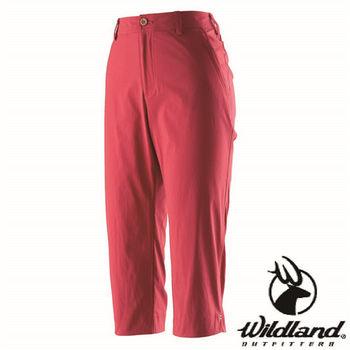 【荒野wildland】女彈性抗UV合身七分褲 紅色 (0A21371-08)