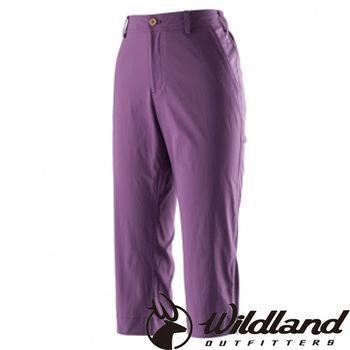 【荒野wildland】女彈性抗UV合身七分褲 紫色 (0A21371-53)