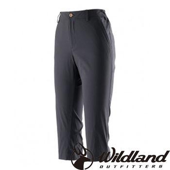 【荒野wildland】女彈性抗UV合身七分褲 黑色 (0A21371-54)