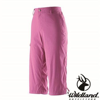 【荒野wildland】女彈性抗UV七分褲 桃紅色 (0A21373-09)