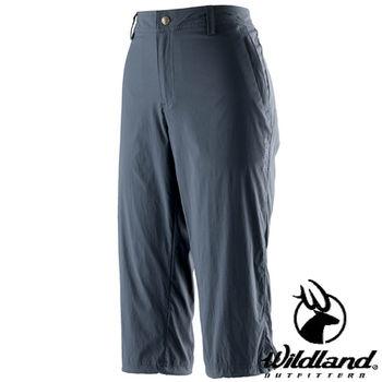 【荒野wildland】女彈性抗UV七分褲 藍灰色 (0A21373-51)