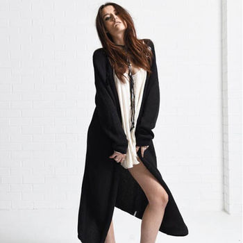 OneTeaspoon LUXURIOUSNESS KNIT COAT 長版外套 | 好萊塢破褲單寧時尚 OTS - 女 (黑)