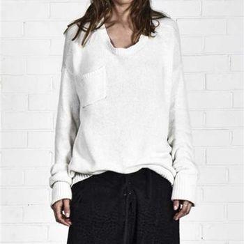 OneTeaspoon CLASSIC COTTON WOOL BLEND KNIT 毛衣 OTS 好萊塢破褲單寧時尚 - 女 (白)