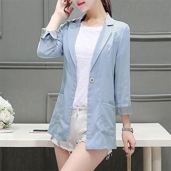 【Fabulous!!】韓版棉麻反摺六分袖西裝外套(太陽的後裔宋慧喬)