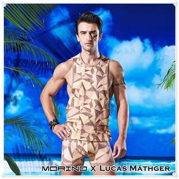【MORINO X LUCAS】幾何迷彩時尚背心 棕色