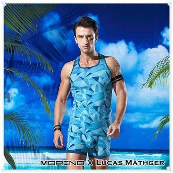 【MORINO X LUCAS】幾何迷彩運動背心 藍色